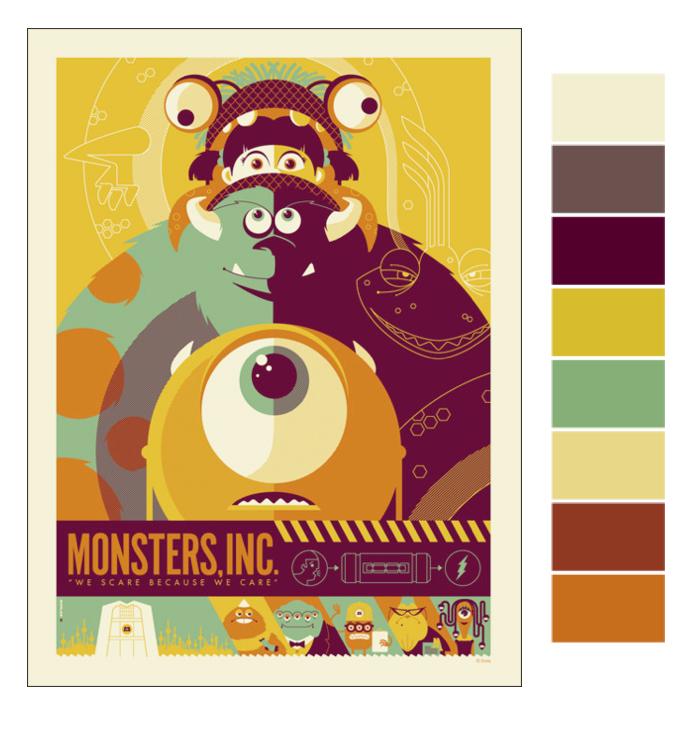 Monsters Inc Color Palette Choices